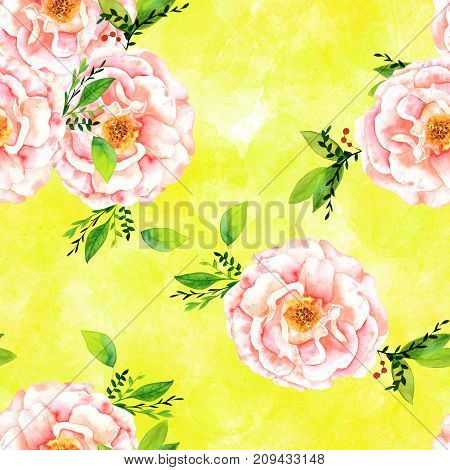 A seamless pattern with a watercolor drawing of a blooming pink rose with green branches and leaves, hand painted on a vibrant yellow green background with brush strokes