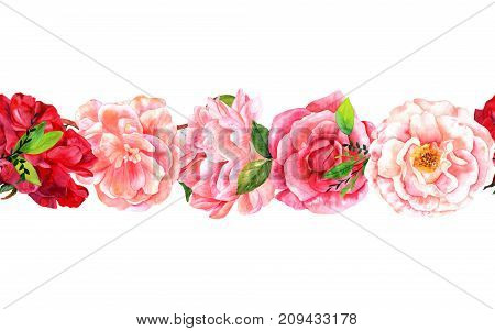 A seamless border of watercolor roses, camellias, peonies, hand painted in the style of vintage botanical art on a white background, isolated