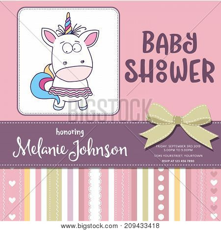 Beautiful baby shower card template with lovely baby girl unicorn vector format
