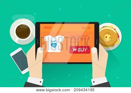 Online shopping vector illustration, flat cartoon person buying something on internet shop, idea of ecommerce store on tablet screen, customer purchasing on e-commerce web page while breakfast