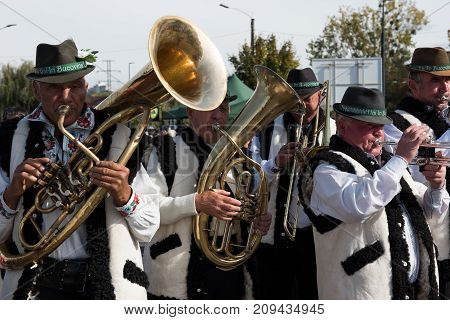 Brass-band Performing Romanian Folk Music On Wind Instruments