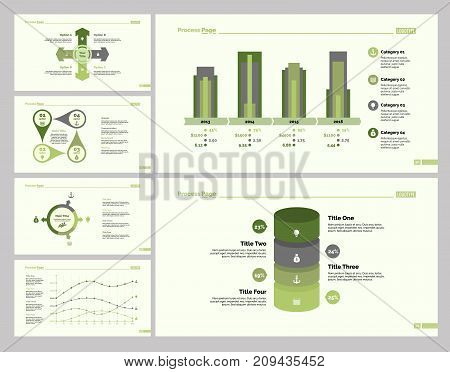 Strategy design set can be used for workflow layout, web design, annual report. Progress concept with options diagram, flow chart and percentage graph