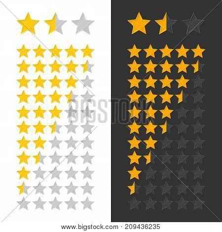 Stars rating panel. Three goldstars rank on white and black background. Classification scores for interfaces, games, websites and mobile applications. Vector illustration