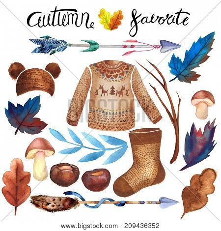Watercolor lettering autumn design elements (things). Hand drawn watercolor.