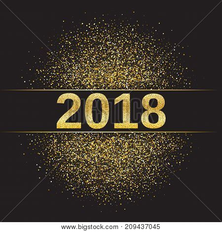 Gold glitter Happy New Year 2018 background. Glittering texture. Gold sparkles with frame. Design element for festive banner, card, invitation