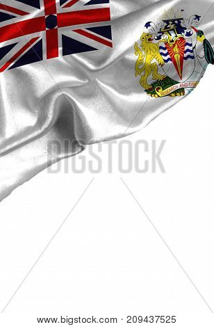 Grunge colorful flag British Antarctic Territory with copyspace for your text or images,isolated on white background. Close up, fluttering downwind. poster