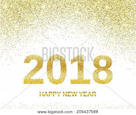Happy New Year 2018 with golden glitter effect, isolated on white background. Vector illustration. Design element for festive banner, card, invitation