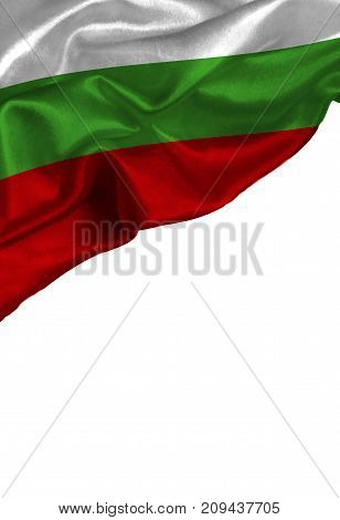 Grunge colorful flag Bulgaria with copyspace for your text or images,isolated on white background. Close up, fluttering downwind.