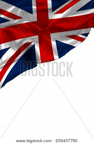Grunge colorful flag United Kingdom with copyspace for your text or images,isolated on white background. Close up, fluttering downwind.
