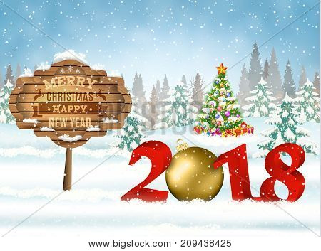 New year and Merry Christmas Winter background with christmas balls and wooden ornate. 2018 with ball on nature background with Christmas tree