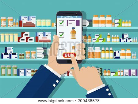 Hand pharmacist hands holding white tablet. Online pharmacy concept. Finger touch pay button on screen for medicine online payment via application. Vector illustration in flat style