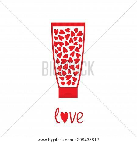 Love card. Tube of cream with hearts inside. Body lotion gel shampoo. Bottle dispenser. Red line art packaging. Valentines day. Isolated. White background. Flat design Vector illustration