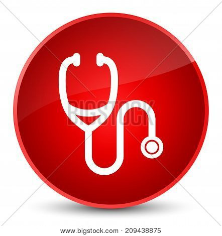 Stethoscope Icon Elegant Red Round Button