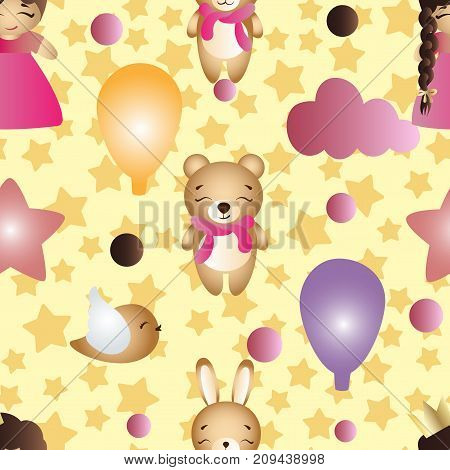 Seamless pattern with a cartoon cute toy baby girl bunny stars clouds bear and balloons on a yellow background