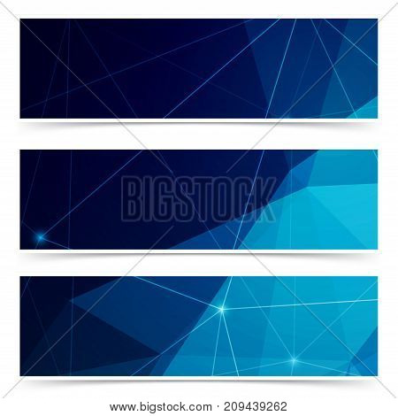 Modern crystal structure polygonal abstract card collection. Dark modernistic low poly minimalistic Footer background set. Vector illustration