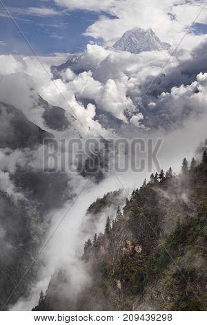 Nilgiri And Tilicho Himal View On The Way To Jomsom