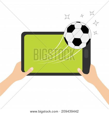 Hands holding genering tablet PC gadget. Soccer ball flying from touch screen. Male female teen hand and Tab with blank screen. Stars. Green grass field. Flat design. White background. Vector