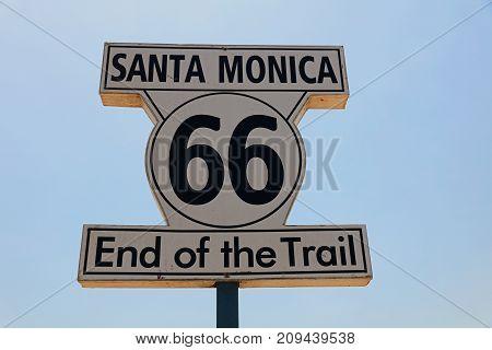 Historic Route 66 Signpost in Santa Monica. California. USA