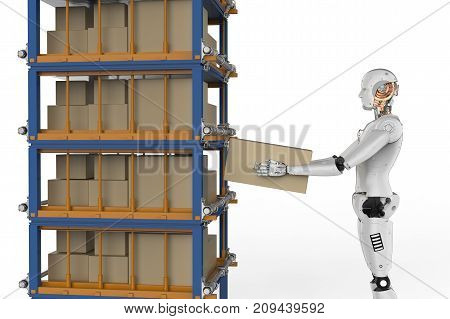 3d rendering humanoid robots carry boxes in warehouse