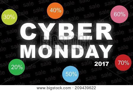 Cyber monday background with with discount icons. Sale online shopping concept.