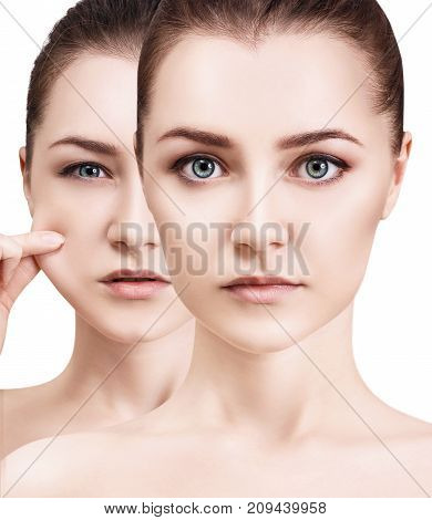 Collage of young woman pulling her elasticity skin isolated on white. Skincare concept.