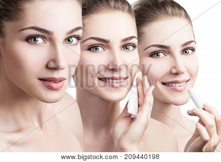 Collage of young woman makes different procedures for face. Skincare concept.