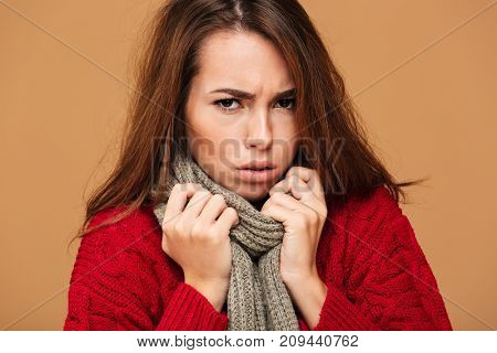 Close-up portrait of upset freezing woman in red knitted sweater and gray scarf, looking at camera, isolated on beige background