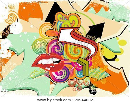 grungy colorful artwork background with sexy lip