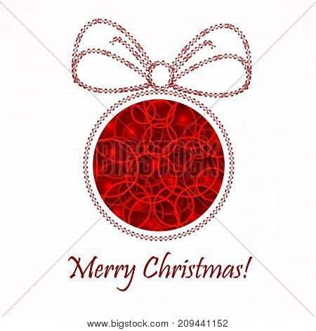 Red Christmas ball. New Year's background. Vector