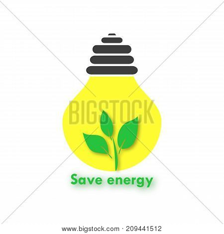 Eco-background with a yellow light bulb and a branch. Sign Save energy