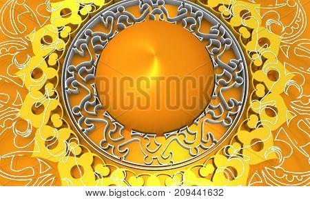 Decorative design element. Patterns with geometric ornament. Circular ornamental symbol. Arabic and Indian motifs. Golden metallic material. 3D rendering