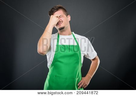 Supermarket Employer Standing Acting Tired