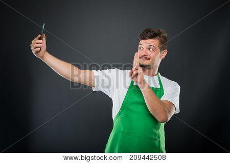 Portrait Supermarket Employer Taking Selfie Showing Peace