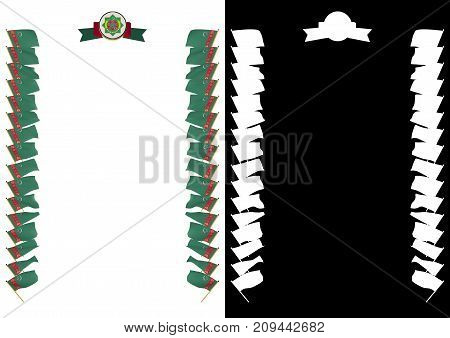Frame And Border With Flag And Coat Of Arms Turkmenistan. 3D Illustration