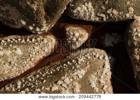rocks with salt near sea hot spring volcano sourge
