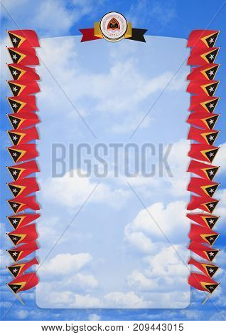 Frame And Border With Flag And Coat Of Arms Timor Leste. 3D Illustration
