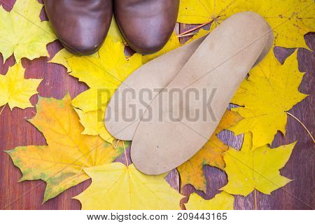 Brown Shoes With Orthopedic Insoles. Background Of Yellow And Orange Maple Leaves