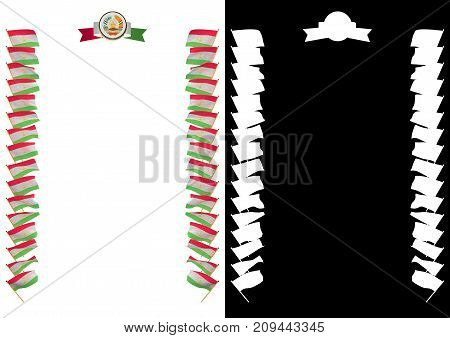 Frame And Border With Flag And Coat Of Arms Tajikistan. 3D Illustration