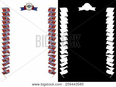 Frame And Border With Flag And Coat Of Arms Swaziland. 3D Illustration