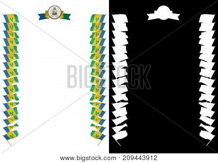 Frame And Border With Flag And Coat Of Arms Saint Vincent And The Grenadines. 3D Illustration