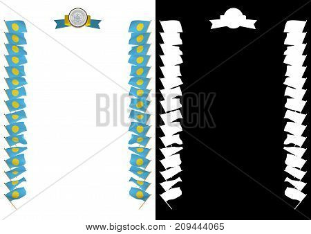 Frame And Border With Flag And Coat Of Arms Palau. 3D Illustration