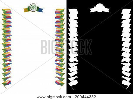Frame And Border With Flag And Coat Of Arms Comoros. 3D Illustration