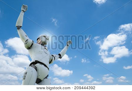3d rendering humanoid robot with hands up to sky