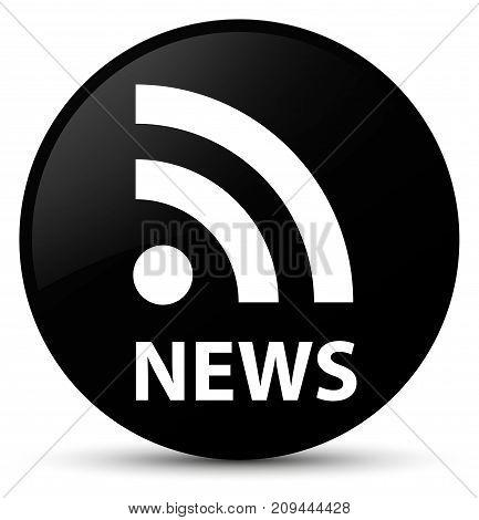 News (rss Icon) Black Round Button