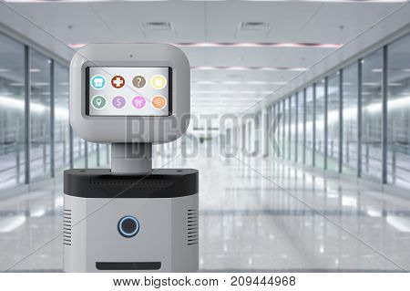 3d rendering assistant robot with software on digital screen
