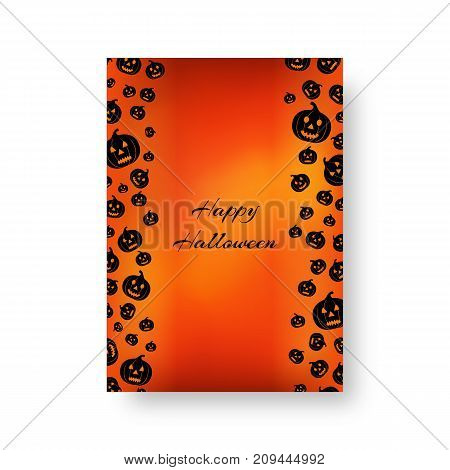Background of the brochure with black falling silhouettes of gourd pumpkins for festive decoration for Halloween