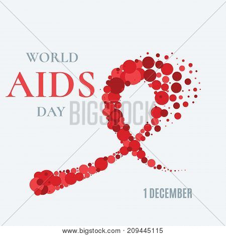 World AIDS Day awareness poster. Red ribbon made of dots on white background. Symbol of acquired immune deficiency syndrome. Medical concept. Circle design elements. Vector illustration.