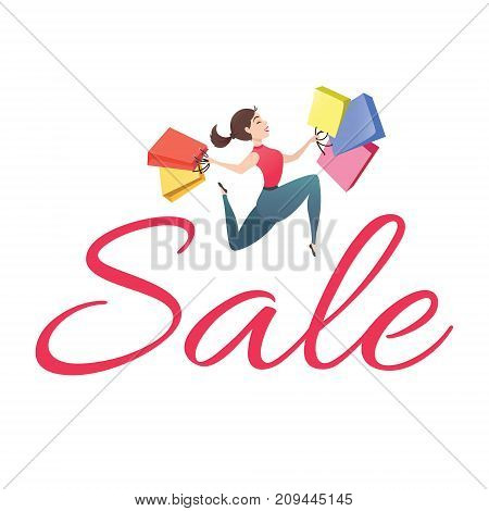 Sale poster with young woman with shopping bags on white background. Happy customer is jumping holding packages with purchases. Smiling shopper. Sale, discount concept. Cartoon vector illustration.
