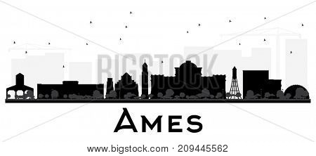Ames Iowa skyline black and white silhouette. Simple flat concept for tourism presentation, banner, placard or web site. Business travel concept. Cityscape with landmarks.