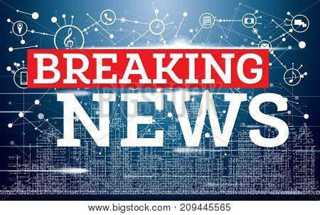 Breaking News on Neon City Skyline Background. TV News Design.